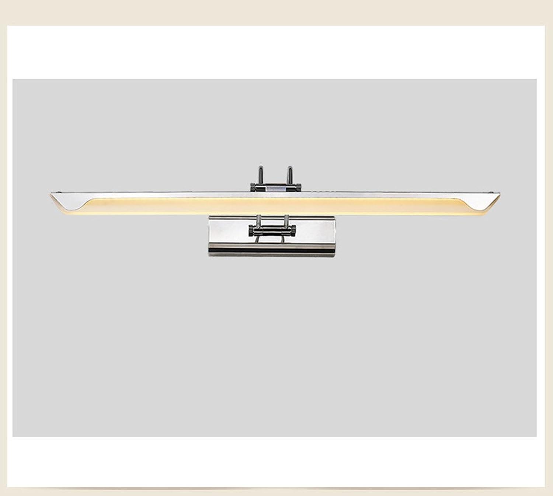 &Badezimmerbeleuchtung LED Spiegelleuchten, Edelstahl Acryl Badezimmer Badezimmer Spiegelschrank Licht Feuchtigkeit WC Wandleuchte Make-up Licht (Farbe   Warmes Licht-10W 43cm)