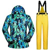 スキー服 防水服男性スキースーツ防風スキージャケットとパンツ男性の冬の暖かいスキーやスノーボードスーツジャケット+パンツ スキースーツ (Color : D, Size : XXL)