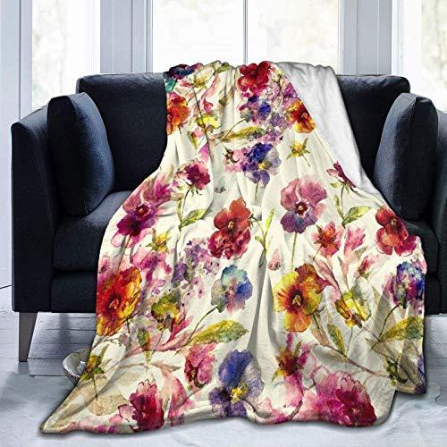 Manta de franela de forro polar, ligera, acogedora manta para sofá, dormitorio, adultos, niños, hermosa rama de pájaros voladores, acuarela, pequeñas pinturas frescas