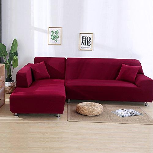 ele ELEOPTION Sofa Überwürfe elastische Stretch Sofa Bezug 2er Set 3 Sitzer für L Form Sofa inkl. 2 Stücke Kissenbezug (Weinrot)