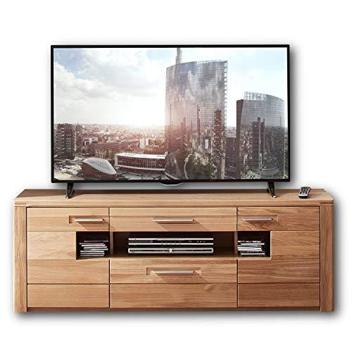 Nature Two TV-Board teil-massiv aus Wildeiche-Bianco - hochwertiges Low-Board für Ihr Wohnzimmer - 160 x 56 x 45 cm (B/H/T)