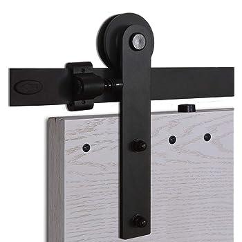 CCJH 5FT-153cm Herraje para Puerta Corredera Kit de Accesorios para Puertas Correderas Rueda Riel Juego para Una Puerta de Madera: Amazon.es: Bricolaje y herramientas