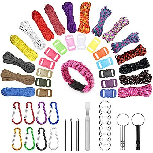 Gohytal Juego de cuerdas de paracord, 16 colores multifunción, incluye hebilla de cuerda y agujas de coser, cuerda de tienda de campaña, kit de artesanía para camping actividades al aire libre