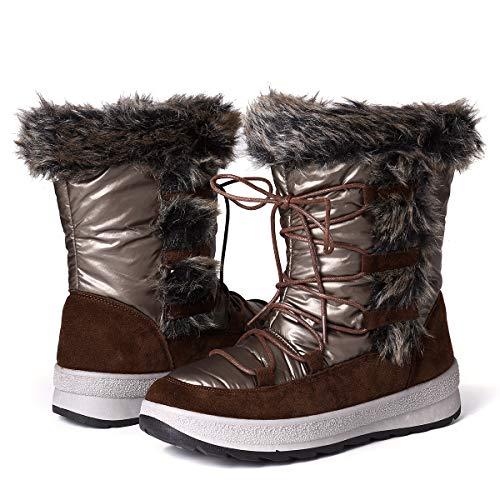 gracosy Botas Nieve Mujer Forro de Piel Invierno Antideslizante Plataforma Zapatos Calentar Cremallera Botines Cordones Impermeable Casuales Media Lluvia Botas Negro