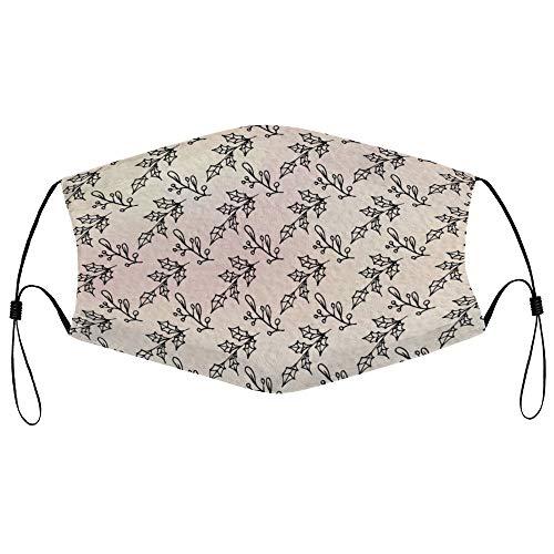 Dkisee Fashion Unisex Staubmaske mit Filterelement, verstellbare Ohrschlaufen, Gesichtsmaske für den Außenbereich (Heilige Blumen, Blätter, nahtloses Muster auf Aquarellpapier)