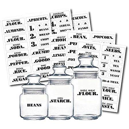 upain Lot de 132 /étiquettes de garde-manger transparentes pour cuisine organisation de stockage r/ésistant /à leau restaurant A