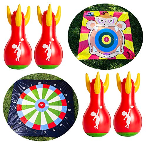 Crazy Monkey DARTZ, 4 Inflatable Lawn Darts Game. Outdoor Games for Family Fun. Yard Games Lawn Games Beach Games. Indoor Games, Kids Outside Games for Picnic & Camping Toss Games for Kids and Adults