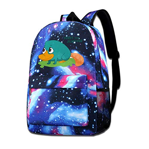 Rogerds Schultasche Freizeittasche, Perry The Platypus Fashion Rucksack Starry Sky Backpacks Travel Daypack Bags for Teens Girls Boys