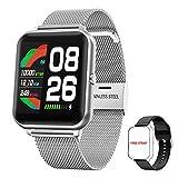Smartwatch Damen Herren, HopoFit Fitness Tracker 1.3 Zoll Touchscreen Smart Watch mit Schrittzähler Pulsuhr Schlafmonitor Stoppuhr Wasserdicht Fitness Armband Uhr für Android iOS (Silber)
