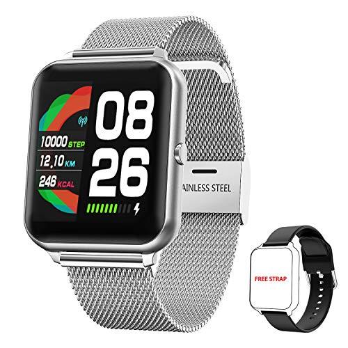 Smartwatch Orologio Fitness Donna Uomo, HopoFit Fitness Tracker con Cardiofrequenzimetro da Polso Contapassi Cronometro 1,3 pollici Orologio Sportivo Impermeabile Smart Watch per Android iOS (Argento)