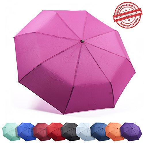 "Frostfire Kolumbo Travel Umbrella Proven ""Unbreakable"" Windproof Tested 55MPH Sturdy, Durability Tested 5000 Times - Compact, UltraSlim Windmaster Umbrella, Auto Open/Close"
