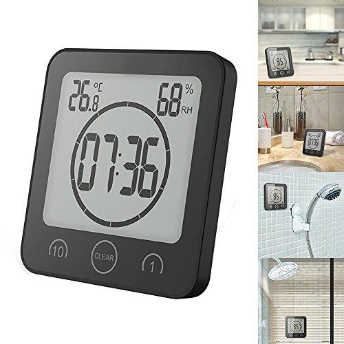 SUNJULY Badezimmeruhr, Digitaluhr, Temperatur, Luftfeuchtigkeit, wasserdicht, mit LCD-Display, Touchscreen, Timer, Alarm, für Küche, Badezimmer, Schwarz/Weiß
