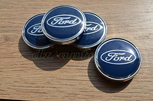 FORD 4pcs x 60mm Auto embleem Badge Sticker Wheel Hub Caps Centre Cover Blauw