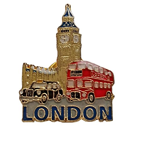 Enamel Pin Badge, London Big Ben, Black Taxi en Big Red Bus - London Souvenir Pin Badge Detailing the Three Polular Icons