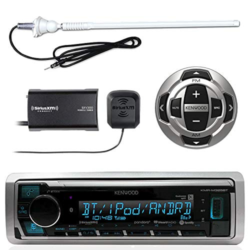 "Kenwood MP3/USB/AUX Marine Boat Yacht Stereo Receiver - Bundle Combo with KCARC35MR Wired Remote Control, SiriusXM Radio Tuner, Enrock Outdoor Rubber Mast 45"" Antenna"