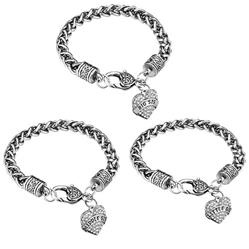 iJuqi Sister Gift Charm Bracelet Set - 3pcs Silver Crystal Love Heart Big Middle Little Sis Link Bracelets Fashion Christmas Birthday Jewelry for Sisters Women Girls Daughters Kids, Box (White)