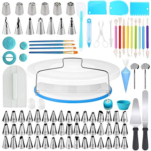 210Pcs Cake Decorating Kit Supplies - 55 Numbered Decorating Tips, Frosting Spatula Icing Smoother and Fondant Decorating Tools for Beginners and Baking Lovers (Update NEW KIT)