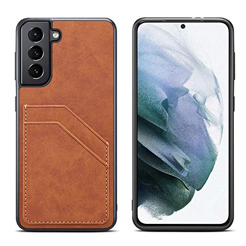Fadter Funda para Samsung Galaxy S21 5G, funda de piel, protección de 360 grados, con tarjetero, carcasa de silicona para Samsung Galaxy S21, ultra antigolpes, color marrón