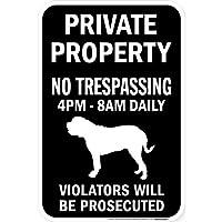 PRIVATE PROPERTY ブラックマグネットサイン:マスティフ シルエット 英語 私有地 無断立入禁止
