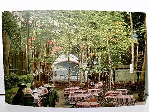 Mülheim - Speldorf.an der Ruhr. Restaurant Monning. Partie aus dem Garten. Alte AK farbig. gel. 1914. Biergarten mit Gästen, Pavillon im Hintergrund