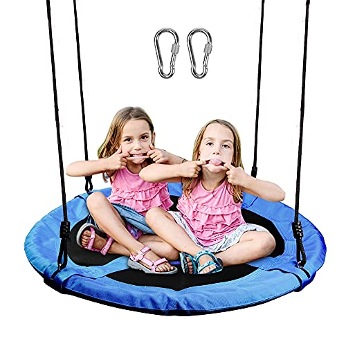 Juegoal Saucer Tree Swing for Kids Adults, 40 Inch Large Rope Swing with Children Swing Platform Bonus Carabiner for Hanging Rope Outdoor, Resistant Waterproof Frame, Blue