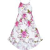 Sunny Fashion Robe Fille Floral Mou, Tendre en Tissu Ouvrir en arrière Robe d'été 4 Ans