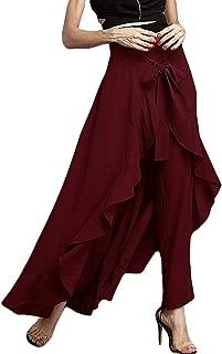 Women's Solid Ruffle Wide Leg Tie-Waist Maxi Long Chiffon Palazzo Overlay Pant Skirts