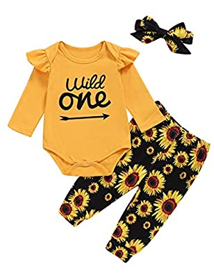 Truly One Baby Girl 1st Birthday Long Sleeve Tops Infant Floral Outfits Set with Headband (Yellow03,12-18 Months)