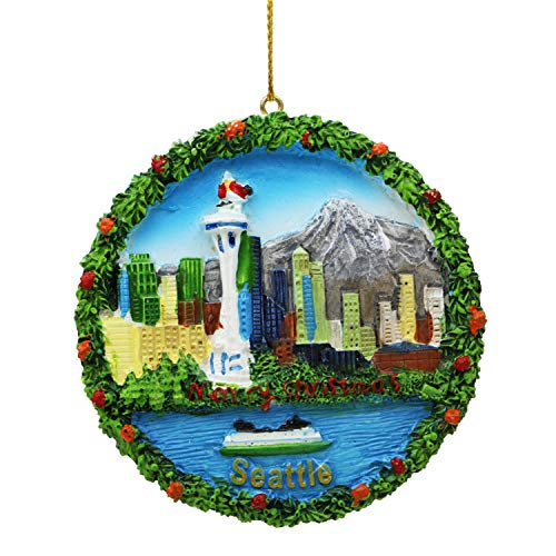 Seattle Christmas Ornament Round Poly With Snowcap Space Needle 45004