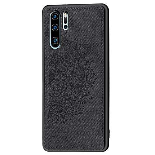 WIWJ Handyhülle für Huawei P30 Pro Silikon Bumper Case - PC Backcover Kratzfest Hülle 3D Muster Ultra Dünn Stoßfest Schutzhülle für Huawei P30 Pro, Schwarz