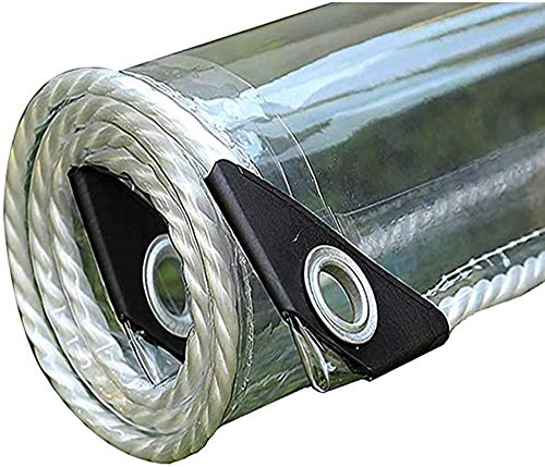 DSJMUY Lona Transparente,Lona Impermeable Transparente con Ojal,De Aislamiento Cubierta De Plástico PVC para Coverup Plantas de Jardines, Invernaderos, Muebles de Terraza(0.3mm)(2 * 3m(6.6 * 9.8ft))