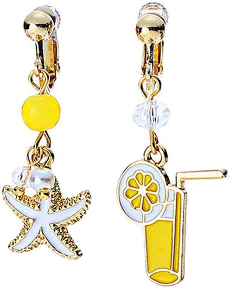 Mixmatched Starfish Tropical Earrings Yellow Dangle Fun Asymmetrical Earrings Mix Matched Beach Ocean Jewelry