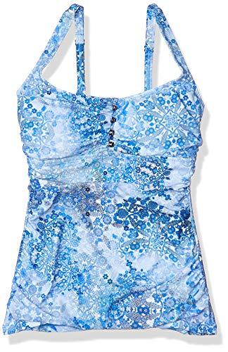 Profile by Gottex Women's Scoop Neck Cup Sized Tankini Top Swimsuit, Taj Mahal Multi Blue, 32D