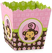 Pink Monkey Girl - Party Mini Favor Boxes - Baby Shower or Birthday Party Treat Candy Boxes - Set of 12