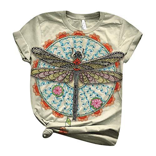 Camisetas de verano para mujer, estilo clásico, diseño de libélulas, manga corta, cuello redondo, camisetas básicas
