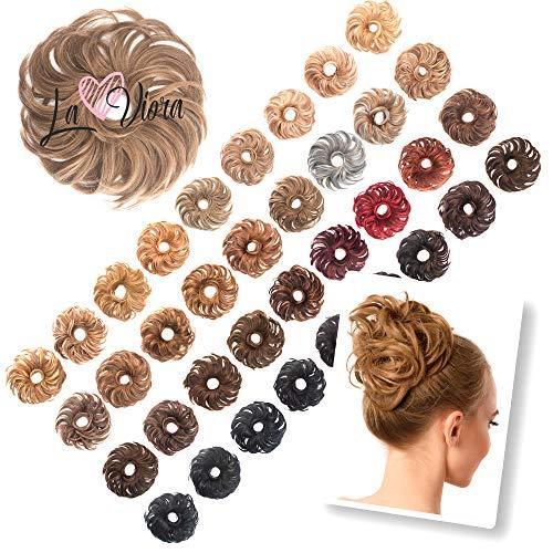 La Viora® Haarteil Haargummi mit Haaren (45g), Hair Extensions Dutt Haarteile für hochsteckfrisuren gewellt, Fruchtig Duftende Dutt Haargummi Haarteil, Dutt Haarteil mit Gummiband, Dunkelblond-Ash