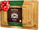 Organic Bamboo Cutting Board with Juice Groove (3-Piece Set) - Kitchen Chopping Board for Meat...