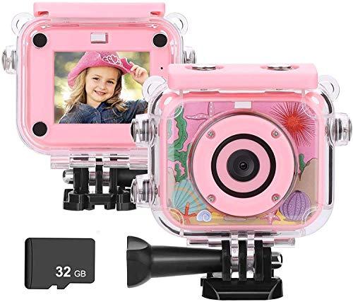 BlumWay mini fotocamera digitale per bambini da 3 a 13 anni, HD ricaricabile Macchina Fotografica con scheda SD 32 G, impermeabile, per interni, esterni, giocattolo e regalo per bambini (rosa)