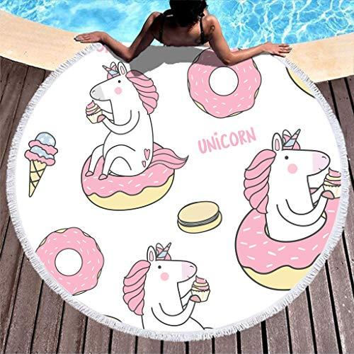 RQPPY - Toalla de Playa Redonda con Anillo de Goma de Color Rosa para meditación, con Forma de Unicornio, Blanco, 150 cm