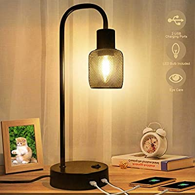 KAYBELE Industrial Table Lamp with 2 USB Ports, 3-Way Dimmable Nightstand Lamp with Metal Mesh Lampshade for Living Room, Bedroom, 6W LED Bulb Included