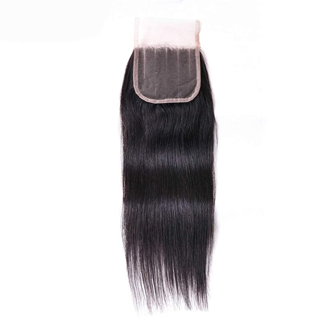 シャワー読む競うYrattary 4×4ディープ5パートストレートレースの閉鎖ブラジルの人間の毛髪の閉鎖ナチュラルカラー女性複合かつらレースかつらロールプレイングかつら (色 : 黒, サイズ : 16 inch)