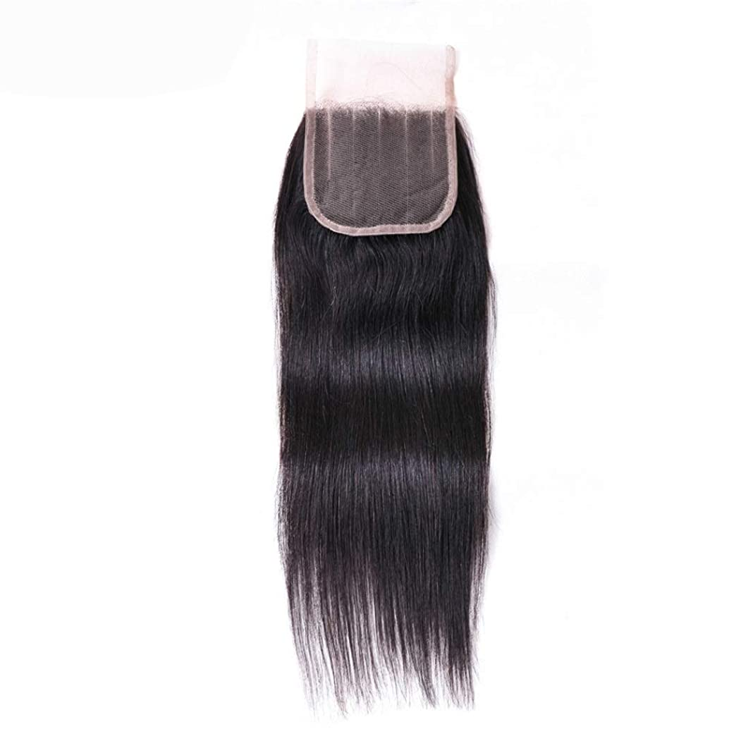 ネイティブ偽スタジオYrattary 4×4ディープ5パートストレートレースの閉鎖ブラジルの人間の毛髪の閉鎖ナチュラルカラー女性複合かつらレースかつらロールプレイングかつら (色 : 黒, サイズ : 16 inch)