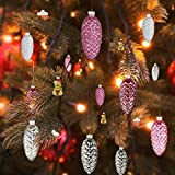 EssenceLiving Set of 12 Pine Cone Glass Ornaments for Christmas Tree Decor, Pink Glass Pine Cone Hanging Ornaments (Colour Scheme 2)