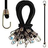 10 Pack Bungee Cords with Hooks, 9 Inch Rubber Mini Bungee Ropes Straps for Bikes, Wire Racks, Tents and Hand Carts etc
