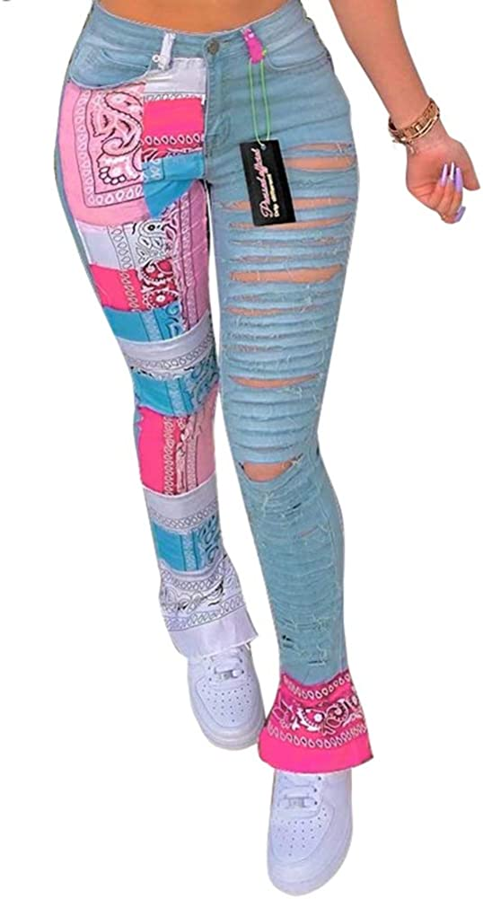 Choichic Women's Casual Totem Print Patchwork Sweatpants Stretchy Mid Waisted Work Skinny Ripped Pants