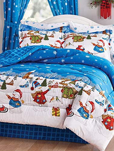 Frosty The Snowman Christmas Village Queen Comforter Set (8 Piece Bed in Bag) + Homemade Wax Melts