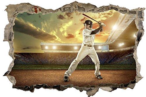 DesFoli Baseball Pitcher 3D Look Wandtattoo 70erlsen 3D Look Wandtattoo 70 x 115 cm Wanddurchbruch Wandbild Sticker Aufkleber D541