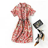 Vestido de Manga Corta de Seda 100% Estampado de anacardo Elegante de Moda Joven con Falda de Seda de cinturón - no se Incluyen Zapatos-Flor rojiza_L