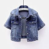 SHENSHI Denim Jacket Mujer,Chaqueta De Jean De Manga Corta Vintage para Estudiantes Elástica Abrigo Femenino, Azul, Pequeño