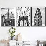 Carteles e impresiones en blanco y negro de la ciudad de Nueva York Puente de Brooklyn y fotos de hierro plano Arte de la pared Pintura en lienzo Fotos Decoración para el hogar 40x50 cm Sin marco x3